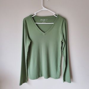Eddie Bauer Green V-neck Long Sleeve Top Cotton S